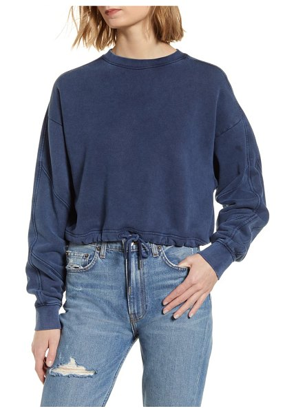 Ninety Percent garment dyed crop pullover in navy