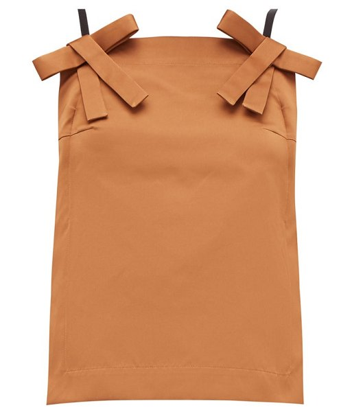 No. 21 bow-strap duchess-satin top in light brown