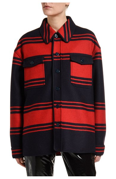 No. 21 Collared Wool Striped Button-Down Shirt in red pattern