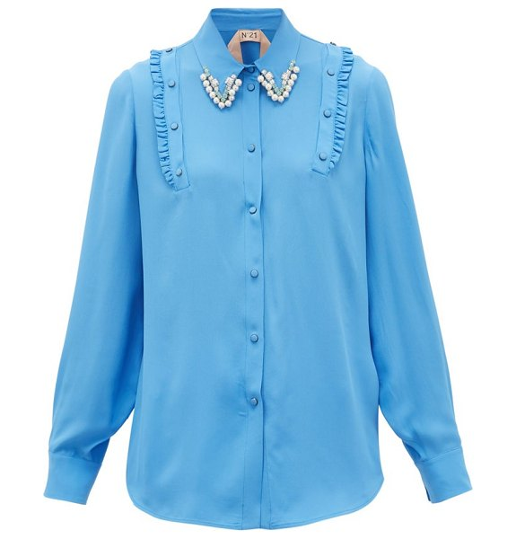 No. 21 crystal and faux-pearl embellished crepe shirt in blue