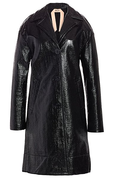 No. 21 patent trench coat in black
