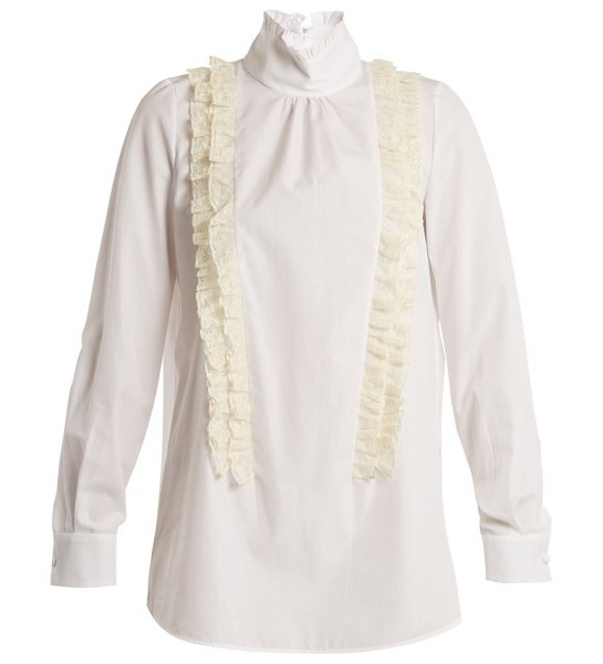 No. 21 ruffle trimmed high neck cotton poplin blouse in white
