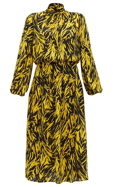 No. 21 tie neck zebra print crepe midi dress in black yellow - No. 21 - No.21's yellow and black zebra-print dress...