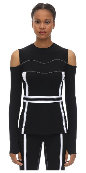 NO KA'OI Fearless stretch techno cut-out top in black,white