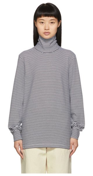 Noah Nyc black and white stripe turtleneck long sleeve t-shirt in black white
