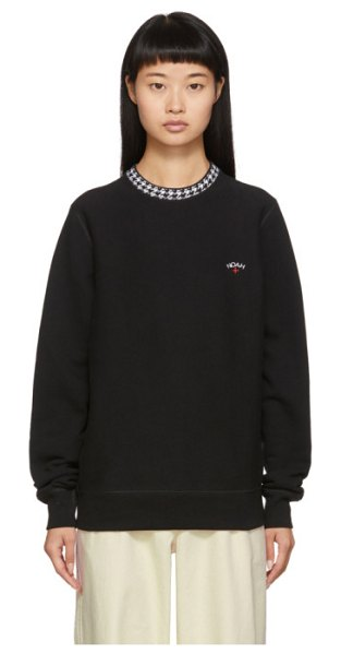 Noah Nyc houndstooth collar crewneck sweatshirt in black