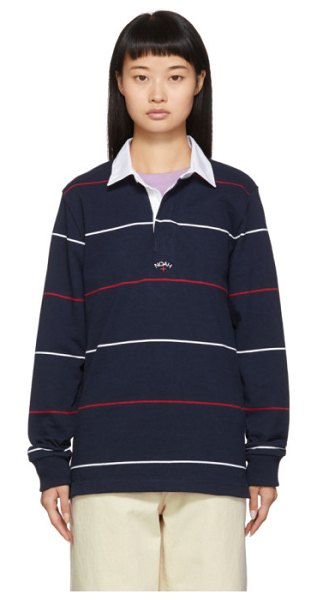 Noah Nyc navy striped logo rugby polo in navy combo