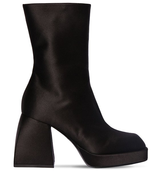 NODALETO 85mm corta satin ankle boots in black