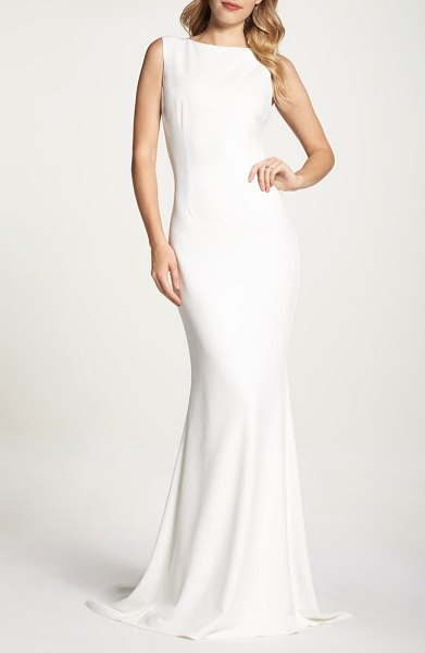 Noel and Jean by Katie May theo low back crepe mermaid gown in ivory