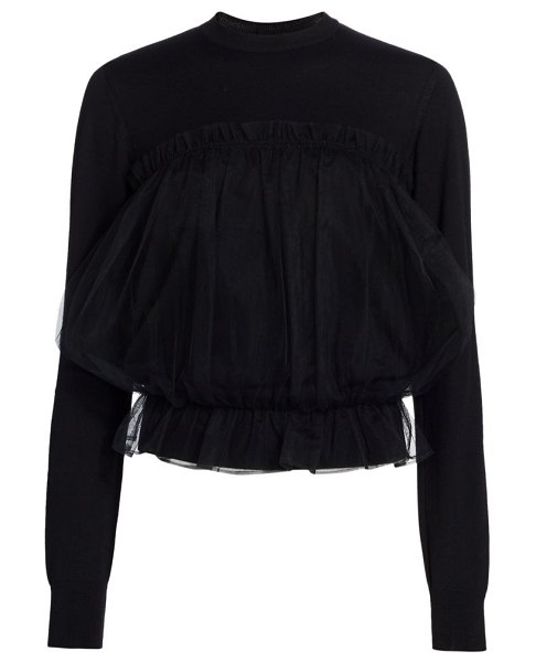 noir kei ninomiya tulle front wool knit sweater in black