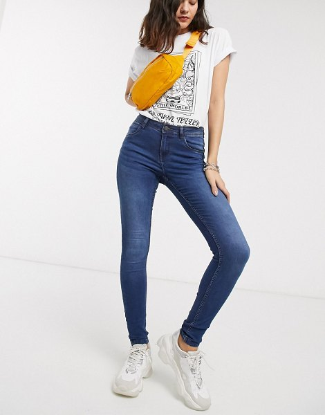 Noisy May high waisted body shaping jean in blue in blue