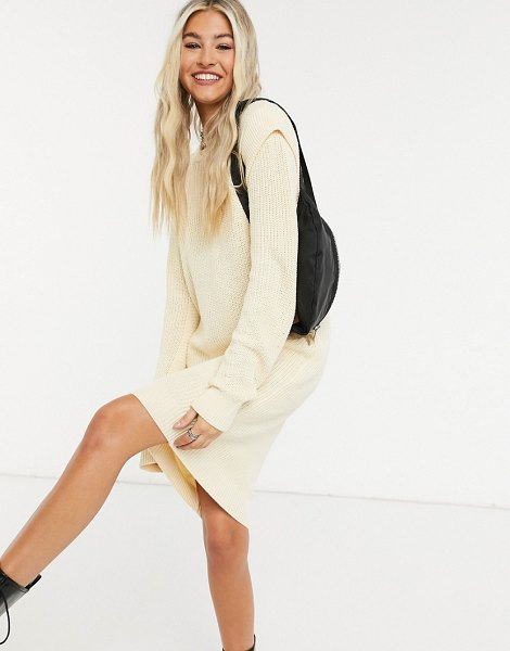 Noisy May knitted dress with sleeve detail in cream in cream