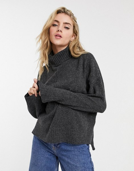 Noisy May roll neck sweater with seam detail in dark gray in gray