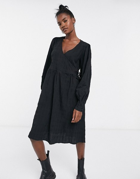 Noisy May textured wrap dress in black in black