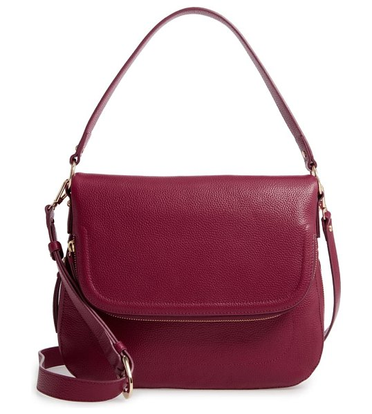 Nordstrom bella leather crossbody bag in burgundy plum