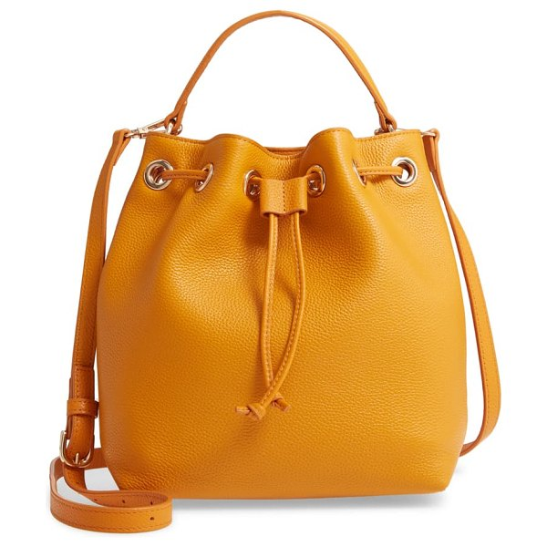 Nordstrom delilah leather bucket bag in yellow inca