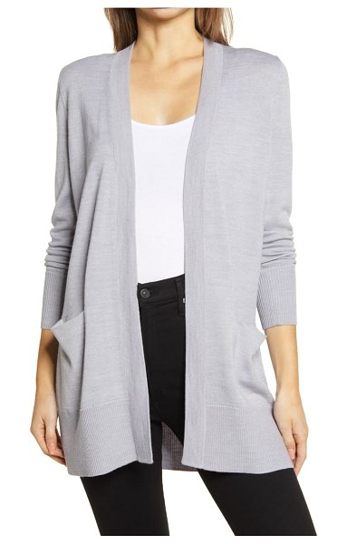 Nordstrom everyday open front cardigan in grey heather