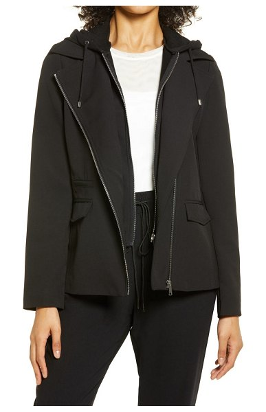 Nordstrom moto hooded jacket in black