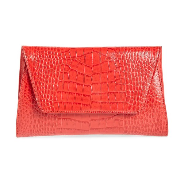 Nordstrom ryder croc embossed leather clutch in red chinoise