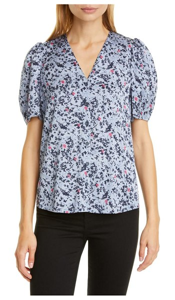 Nordstrom Signature floral puff sleeve stretch silk top in purple dacre floral