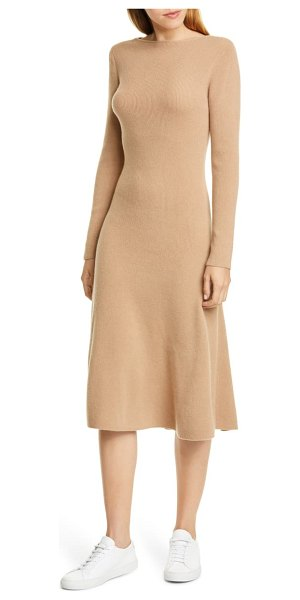 Nordstrom Signature long sleeve cashmere sweater dress in tan tannin