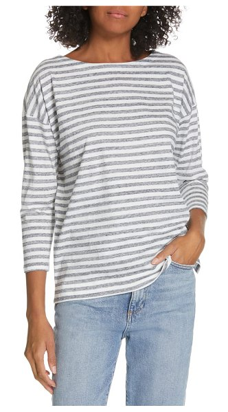 Nordstrom Signature stripe tee in white - Heathered stripes and drop sleeves enhance the...