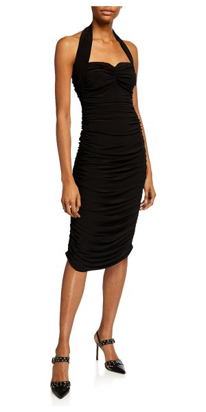 Norma Kamali Bill Ruched Jersey Halter Dress in black