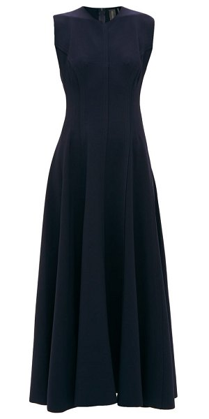 Norma Kamali grace raw-seam panelled dress in navy