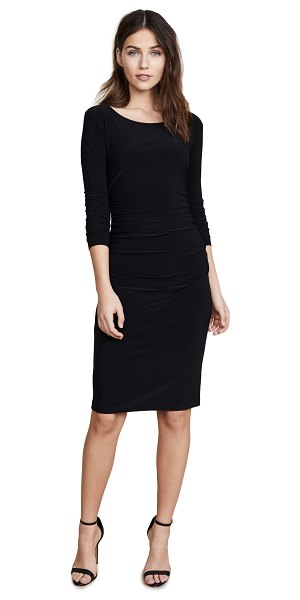 Norma Kamali kamali kulture long sleeve dress with shirred waist in black