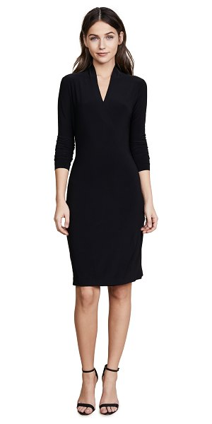Norma Kamali long sleeve side draped dress in black