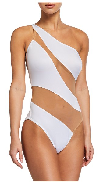 Norma Kamali Mio Snake Mesh One-Piece Swimsuit in white