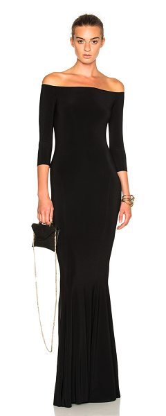 NORMA KAMALI Off Shoulder Fishtail Dress - 95% poly 5% spandex.  Made in China.  Machine wash. ...