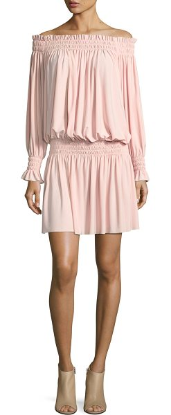 NORMA KAMALI Off-the-Shoulder Smocked-Neck Peasant Dress - Norma Kamali peasant dress in stretch jersey. Approx....