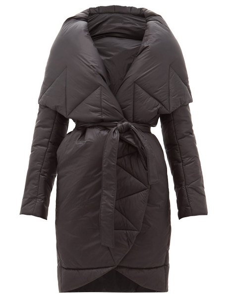 Norma Kamali padded shawl lapel technical shell coat in black