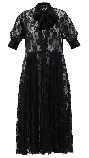 Norma Kamali pussybow floral-lace shirt dress in black