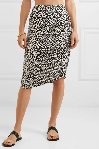Norma Kamali ruched leopard-print stretch-jersey skirt in leopard print