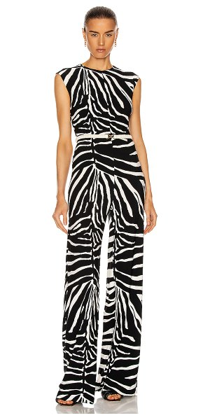 Norma Kamali sleeveless jumpsuit in large zebra