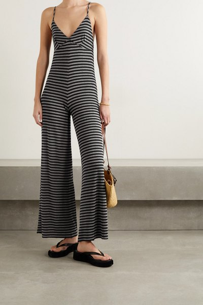 Norma Kamali slip striped stretch-jersey jumpsuit in black