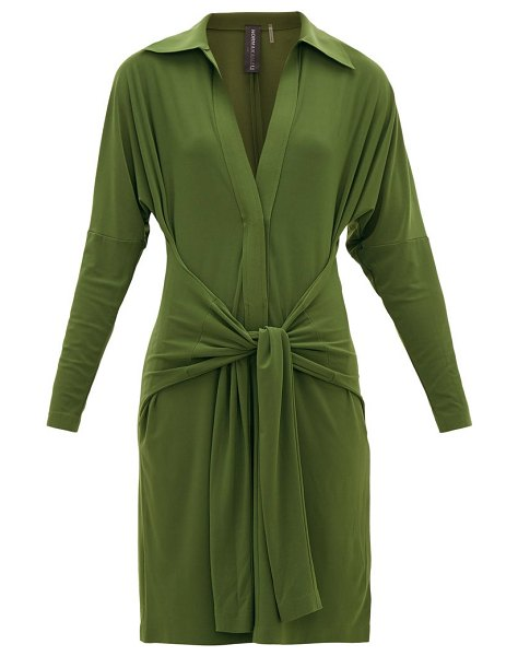 Norma Kamali tie-waist point-collar jersey dress in khaki