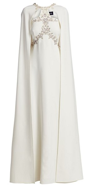 Notte by Marchesa embellished a-line cape gown in ivory