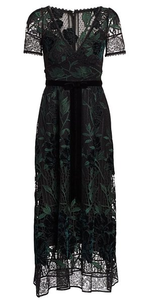 Notte by Marchesa embroidered velvet & lace cocktail dress in neutral,black