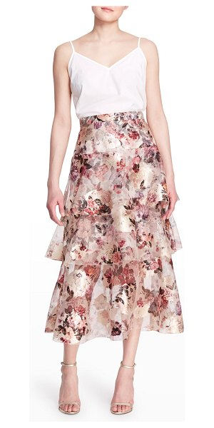 Notte by Marchesa Floral-Print 3-Tiered Midi Skirt in ivory