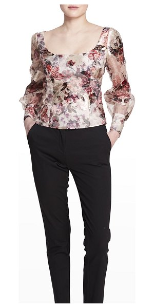 Notte by Marchesa Floral-Print Long-Sleeve Fitted Top in ivory
