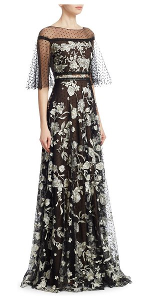 Notte by Marchesa flutter sleeve flock gown in black white - Floral gown with illusion necklline and flocked mesh...