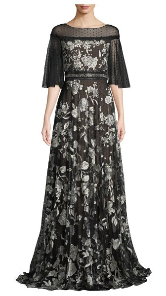 Notte by Marchesa Flutter-Sleeve Floral Embroidered Flocked Tulle Gown in black/white - Marchesa Notte embroidered flocked tulle gown. Bateau...