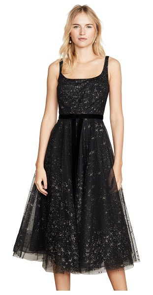 Notte by Marchesa glitter tulle tea length gown in black