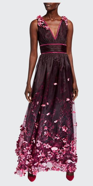 Notte by Marchesa Printed Organza V-Neck Sleeveless Gown w/ 3D Flower Degrade in plum