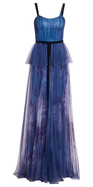 Notte by Marchesa sequin peplum waist gown in blue
