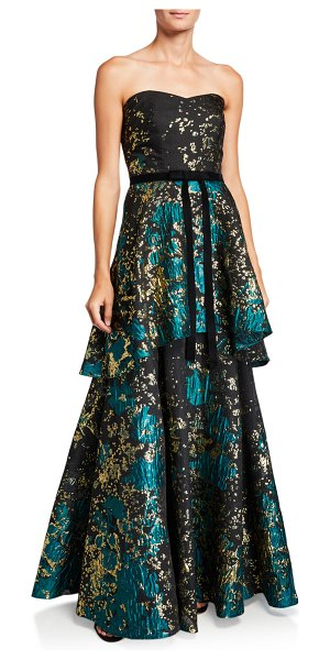 Notte by Marchesa Strapless Metallic Fil Coup Tiered Gown with Velvet Waist Trim in emerald
