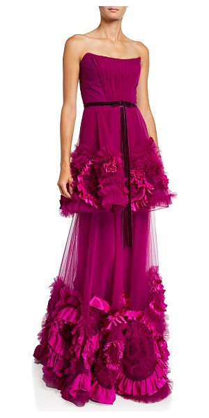 Notte by Marchesa Strapless Mixed Media Textured Tiered Gown w/ Corseted Bodice in pink